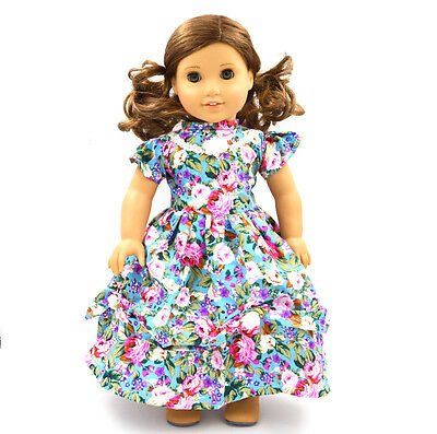 Princess Skirt Doll Clothes for 18''American Girl Handmade Blue Party Dress H