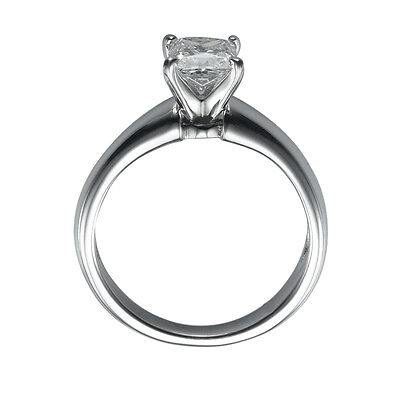 0.51 CT WEIGHT 14K WHITE GOLD D VS2 PRINCESS CUT NATURAL CERTIFIED DIAMOND RING