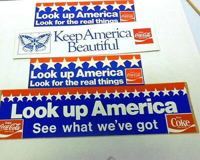 "Lot 40 - 4 Coca-Cola ""America"" Bumper Stickers - Great Shape"