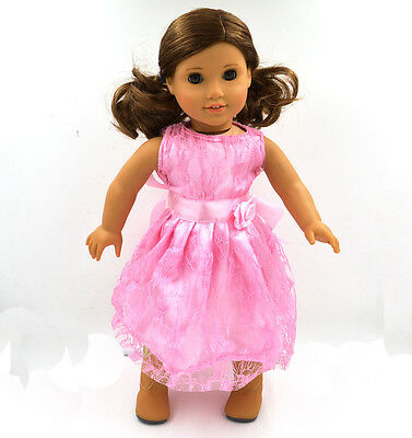 princess skirt Doll Clothes for 18'' American Girl Handmade pink Party Dress J