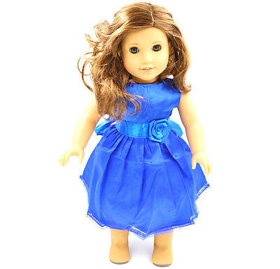 American Girl Doll Green Clothes for 18'' American Girl Handmade  Party  Dress C