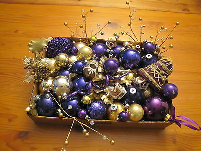Mixed Lot 44 Gold Purple Twirl Vtg Glass Ball Xmas Ornament Indent teardrop Bell