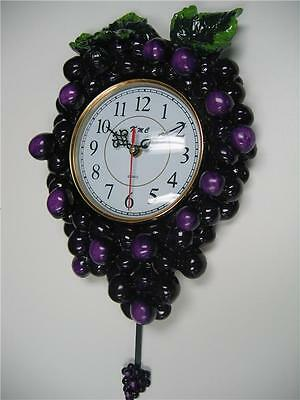 3D Grape pendulum wall clock.Kitchen Wine vineyard Toscan fruit bar home decor.