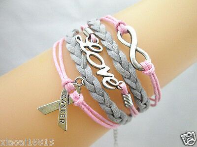 HOT Infinity/Love/Breast Cancer Awareness Sign Charms Braided Suede Bracelet