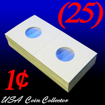 (25) Penny Size 2x2 Mylar Cardboard Coin Flips for Storage | 1 Cent Paper Holder