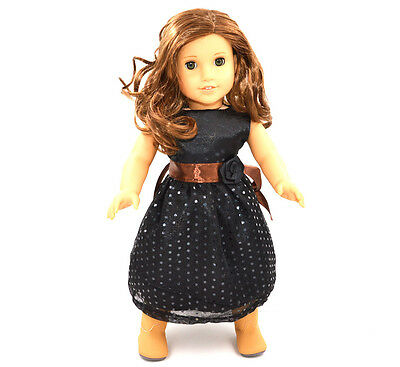 """2015 Doll Clothes fits 18"""" American Girl Handmade Black Party Dress"""
