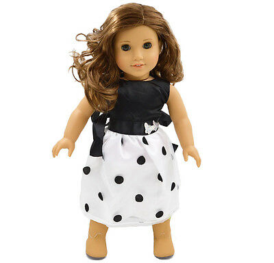 Fashion White  Skirt Doll Clothes for 18'' inch American Girl Handmade  Dress