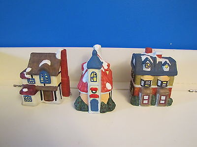 3 Lighted w/Cord Snow Village Xmas House Ceramic Ornaments Church Town Train Set