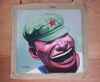Hand made Modern abstract Oil Painting on Canvas Smiling face no frame #045