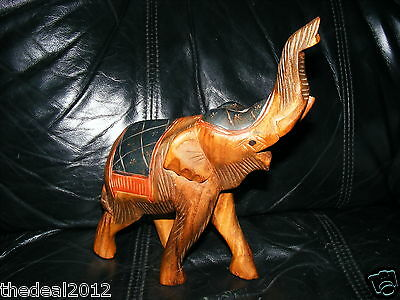 """VTG Hand Carved Wooden Wood Large Elephant Statue Painted Table Decor 9"""" Tall"""