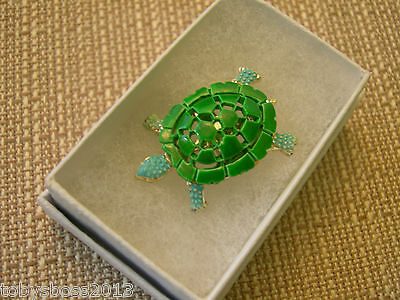 Turtle Brooch with Green and Blue Enamel over Gold Tone Filligree Pin 1970 Retro