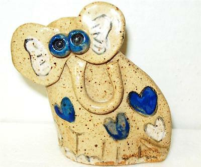 SASHA  HANDCRAFTED POTTERY SMALL Elephant  w/ BLUE & WHITE Hearts ZOO JUNGLE