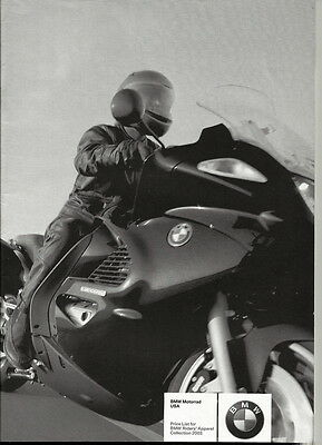 BMW Motorrad USA Riders' Apparel 2003 Collection Price List 32 pages