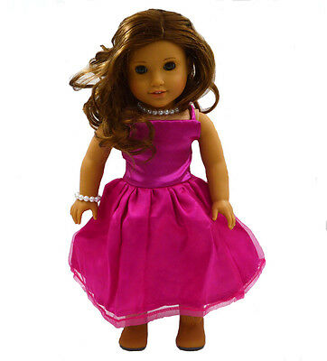 The Princess Skirt Doll Clothes for 18''American Girl Handmade Rose Party Dress