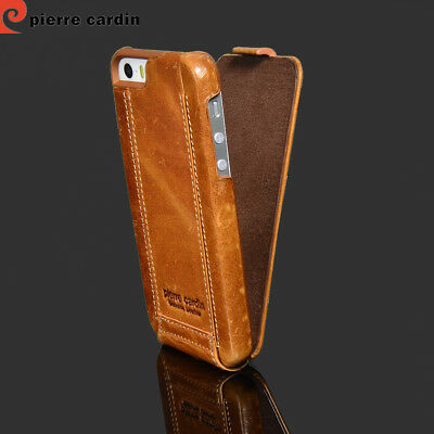 Pierre Cardin Flip Folio Cover Genuine Leather Hard Case For iPhone SE 5S Brown