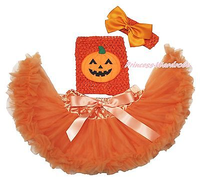 Halloween Orange Pumpkin Crochet Tube Top Baby Girl Tutu Outfit Skirt Set NB-2Y
