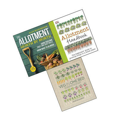 Allotment Month By Month Veg in One Bed Allotment Handbook 3 Books Set NEW