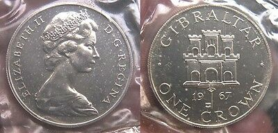 Gibraltar 1967 Crown, Gem Proof, Silver, In Mint Sealed Plastic,  Rare Proof