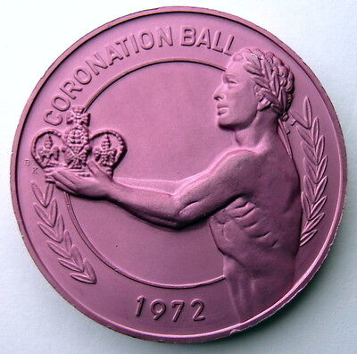 """1972 Endymion """"Coronation Ball"""" Brushed Pink Aluminum 10g HR Mardi Gras Doubloon"""