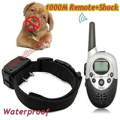 1000 Yard Remote Rechargeable LCD Electric Shock Dog Training Collar  Waterproof