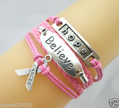 HOT Hope/Believe/Breast Cancer Awareness Ribbon Leather Braided Bracelet PRETTY