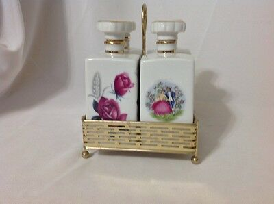Beautiful Vintage White China Scent Bottles w/Metal Carrier; c.late1940's-1950's