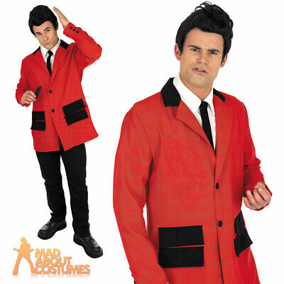Adult Teddy Boy Costume Red Mens 50s Rock n Roll Jacket Fancy Dress Outfit New