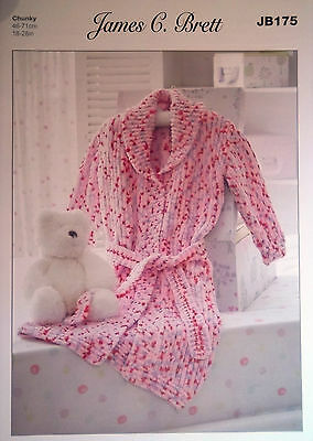 "James Brett Chunky Knitting pattern Childs Dressing Gown 18""-28"" JB175"