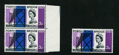 GB 1964 FORTH ROAD BRIDGE 3d ERROR...VIOLET COLOUR SHIFT...DATE + VALUE..PAIR L2