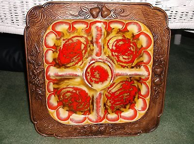 Treasure Craft USA Pottery Large Divided Serving Tray/Platter Reds, Gold, Cream