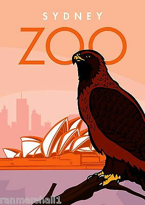 Sydney Australia Zoo Hawk Eagle Advertisement Travel Art Poster
