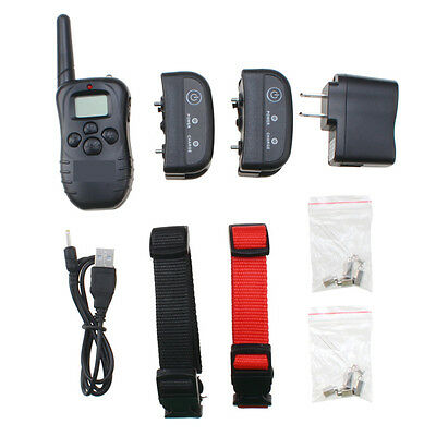 Remote Training Collar 2 Dogs Rechargeable Waterproof LCD 100 Levels Shock Vibra