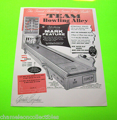 On Sale.. TEAM BOWLING ALLEY By UNITED 1958 NOS SHUFFLE BALL BOWLER ARCADE FLYER
