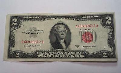 1953B - $2 Two Dollar United States Note Bill - Red Seal - Old Paper Money