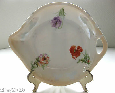 VTG THREE CROWNS CHINA FLORAL MINI PLATE WITH HANDLE MADE IN GERMANY