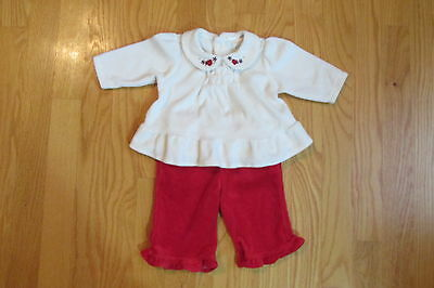 PLACE GIRLS SZ 0-3 mo. TOP & PANTS SET IVORY & RED CHRISTMAS HOLIDAY CHURCH 2 PC