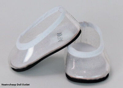 "Fits 18"" American Girl Doll Princess Clear Glitter Flats Jellies Slippers Shoes"