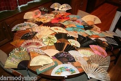 60 VINTAGE / ANTIQUE FANS ASIAN / CHINESE SILK HAND PAINTED ESTATE COLLECTION