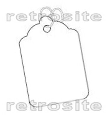 100 WHITE Merchandise/Jewelry Price Tags BLANK w/Strings STRUNG #5-BEST QUALITY-