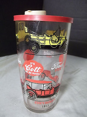 Vintage Cott Soda Advertising Antique Cars Cocktail Shaker Glass