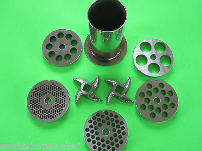#12  8pc Meat Grinder Mincer Sausage Stuffer plate knife tube STAINLESS STEEL