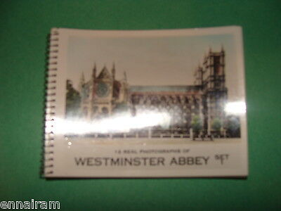 Westminster Abbey 12 real color  photos spiral bound Set 1 c. 1960s London UK