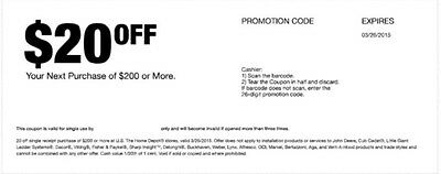 Home Depot $20 off $200 Coupon exp 03/26/15 In Store