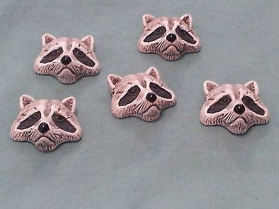Peruvian Ceramic UNIQUE Gray Raccoon Face Pendant Focal Bead Single or Lot of 5