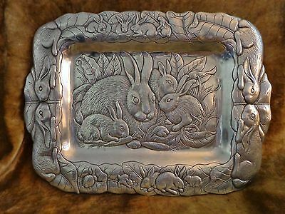 Vintage Arthur Court LARGE Tray/Bunny Rabbits/Mom & Babies/1986/Easter/NICE!!