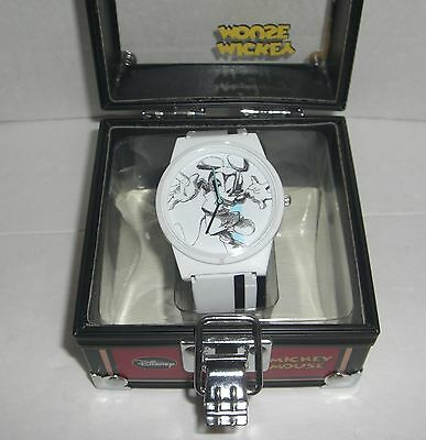 FLUD MICKEY MOUSE SKETCH WATCH WHITE COMES IN A TIN CASE DISNEY