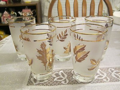 VINTAGE SET OF 5 FROSTED DRINKING GLASSES WITH GOLD LEAF DESIGN AND TRIM .