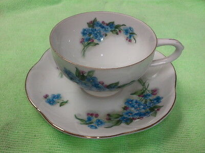 Vintage Saji Japan Fancy China Cup and Saucer #EW8/846 blue floral
