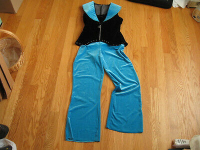 DANCE COSTUME GIRL'S SIZE LARGE (8??) TURQUOISE & BLACK 2 PIECE WITH RHINESTONES