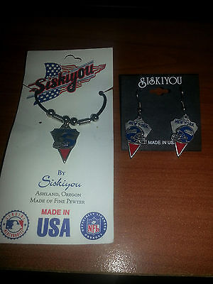 New York Giants Pewter Earrings and Necklace set. Siskiyou ,USA, football